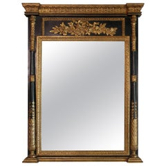 Neoclassical Parcel-Gilt Mirror with Finely Carved Giltwood Columns