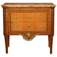 Neoclassical Parquetry Marble-Topped Commode