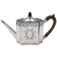 Neoclassical Period George III Antique Sterling Silver Teapot Made in 1790