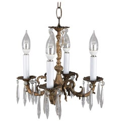 Neoclassical Petite Bronzed Metal Figural Cherub 4-Light Hall Chandelier