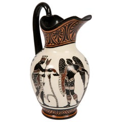 Neoclassical Pitcher Painted in Orange Black and Ochre circa 1840