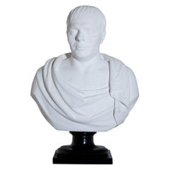 Neoclassical Plaster Portrait Bust, Signed A. Frederich, Dated 1843