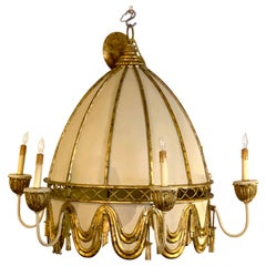 Neoclassical Polychromed Tole Pagoda Style Chandelier