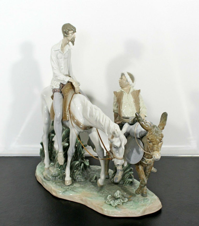 Spanish Neoclassical Porcelain Don Quixote Table Sculpture Signed Lladro Spain, 1970s For Sale