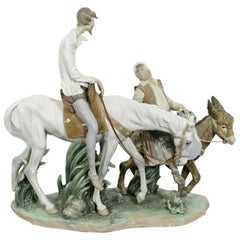 Neoclassical Porcelain Don Quixote Table Sculpture Signed Lladro Spain, 1970s