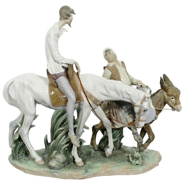 Neoclassical Porcelain Don Quixote Table Sculpture Signed Lladro Spain, 1970s For Sale