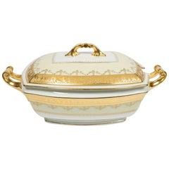 Neoclassical Porcelain Gilded Tureen Made Mid-20th Century