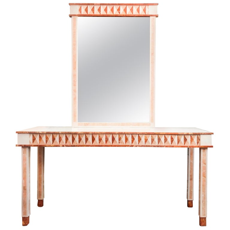 Neoclassical Postmodern Maitland-Smith Marble Console Table and Wall Mirror For Sale