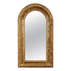 Neoclassical Rectangular Gold Foil Hand Carved Wooden Mirror, 1970