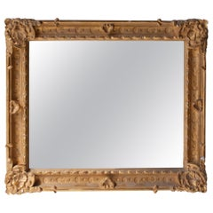 Neoclassical Rectangular Gold Hand Carved Wooden Mirror, Spain, 1970
