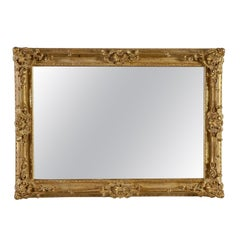 Neoclassical Regency Gold Hand Carved Wooden Rectangular Mirror, 1970