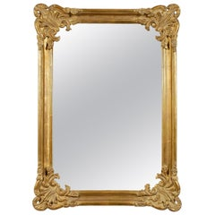 Neoclassical Regency Rectangular Gold Hand Carved Wooden Mirror, 1970