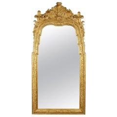 Neoclassical Regency Rectangular Gold Hand Carved Wooden Mirror