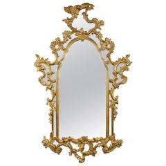 Neoclassical Regency Rectangular Gold Hand Carved Wooden Mirror.