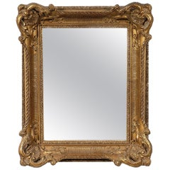 Neoclassical Regency Rectangular Gold Hand-Carved Wooden Mirror.
