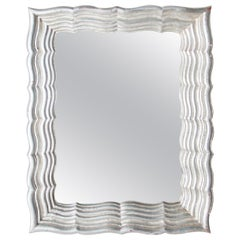 Neoclassical Regency Rectangular Silver Hand Carved Wooden Mirror, 1970