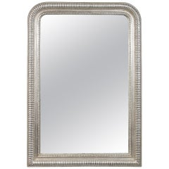 Neoclassical Regency Rectangular Silver Hand Carved Wooden Mirror