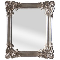 Neoclassical Regency Rectangular Silver Hand Carved Wooden Mirror, Spain, 1970