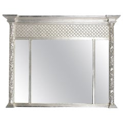 Neoclassical Regency Rectangular Triptych Silver Hand Carved Wooden Mirror, 1970