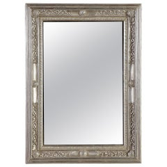 Neoclassical Regency Silver Hand Carved Wooden Mirror, 1970