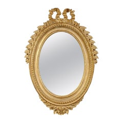 Neoclassical Regency Style Acanthus Gold Foil Hand Carved Wooden Mirror, 1970