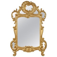 Neoclassical Baroque Style Gold Foil Hand Carved Wooden Mirror, 1970