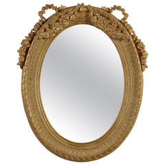Neoclassical Regency Style Gold Foil Hand Carved Wooden Mirror, 1970