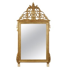 Neoclassical Regency Style Gold Foil Hand Carved Wooden Rectangular Mirror, 1970