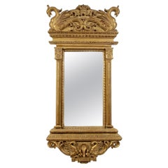 Neoclassical Regency Style Rectangular Gold Foil Hand Carved Wooden Mirror, 1970
