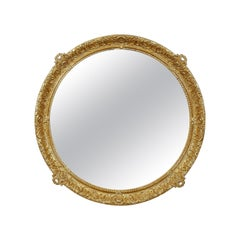 Neoclassical Regency Style Round Gold Hand Carved Wooden Mirror, 1970