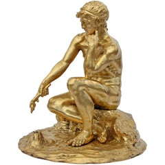 Neoclassical Revival Classical Male Nude Bronze Sculpture by E.F. Caldwell