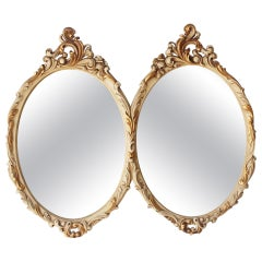 Neoclassical Revival Double Oval White Wood Mirror by Mariano García, 1960s