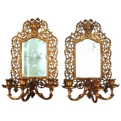 Neoclassical Revival Girandole Sconces in Gilt Metal