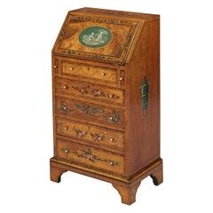 Neoclassical Revival Hand Painted Satinwood Miniature Bureau