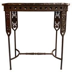 Neoclassical Revival Marble and Wrought Iron Console Table