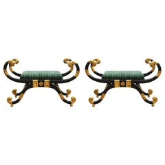 Neoclassical Revival Style Curule Benches with Green Upholstery