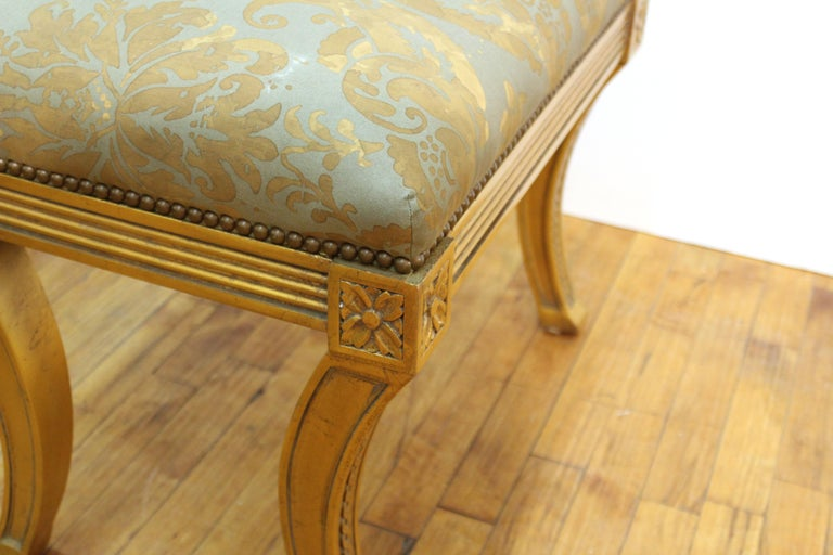 Upholstery Neoclassical Revival Style Giltwood Bench For Sale