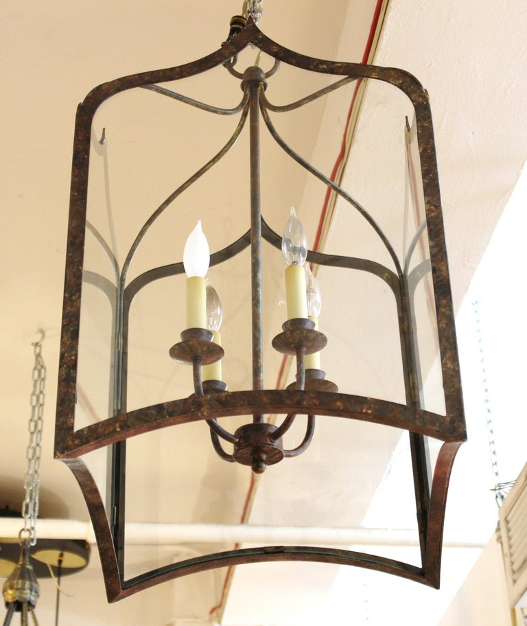 20th Century Neoclassical Revival Style Metal Porch Pendant Lights For Sale