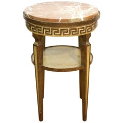 Neoclassical Revival Style Side Table with Marble Top