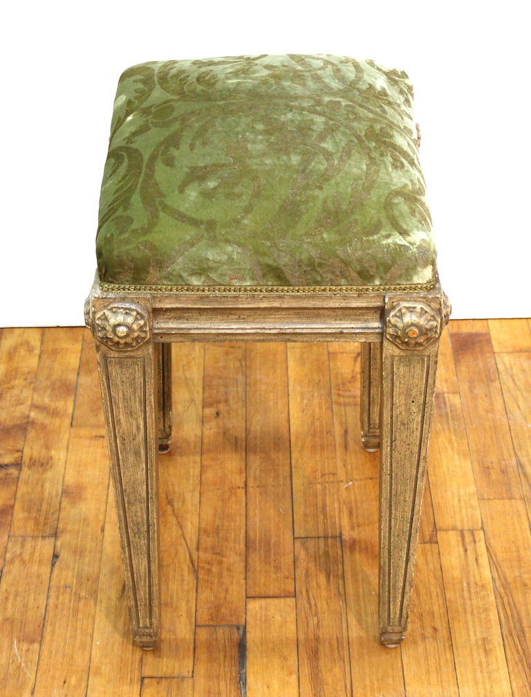 Upholstery Neoclassical Revival Style Wood Benches For Sale