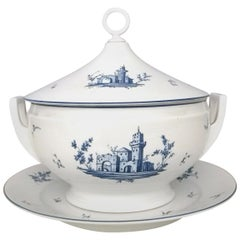Neoclassical Richard Ginori White and Blue Porcelain Serving Dish, Italy