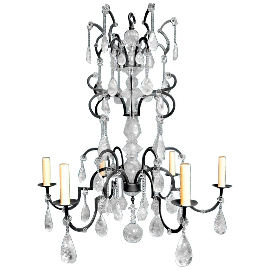 Neoclassical Rock Crystal Six Light Chandelier, Multi-Finishes