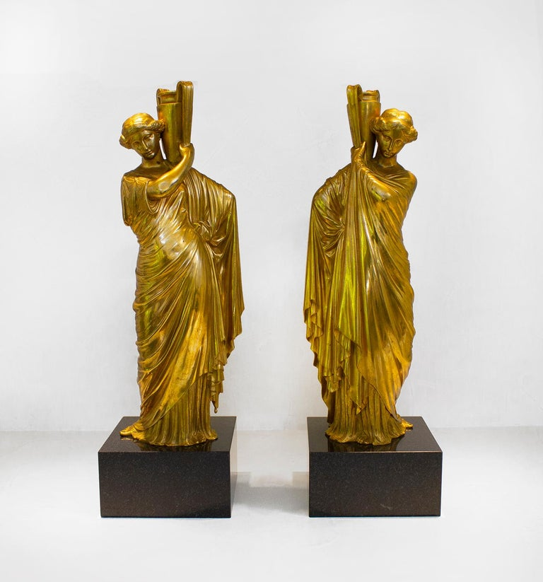 Classical Roman Neoclassical Romanesque Bronze Female Form Sculptures with Marble Bases For Sale