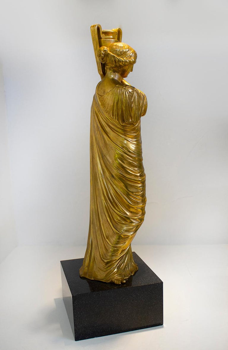 Italian Neoclassical Romanesque Bronze Female Form Sculptures with Marble Bases For Sale