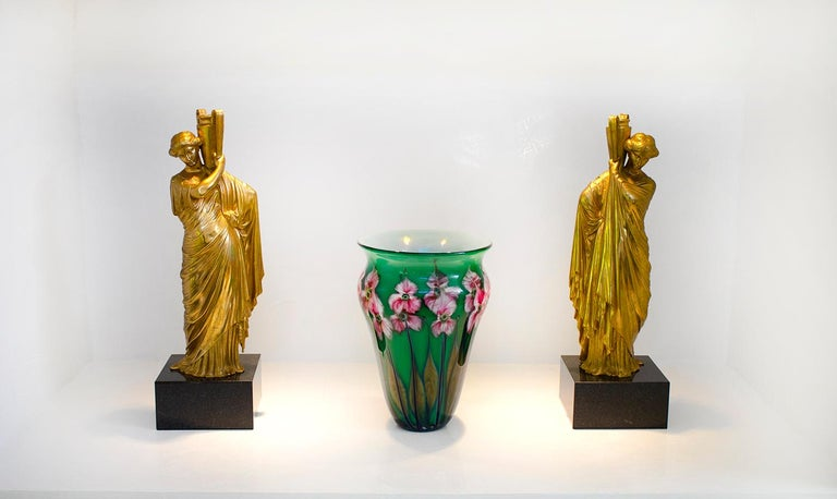 20th Century Neoclassical Romanesque Bronze Female Form Sculptures with Marble Bases For Sale