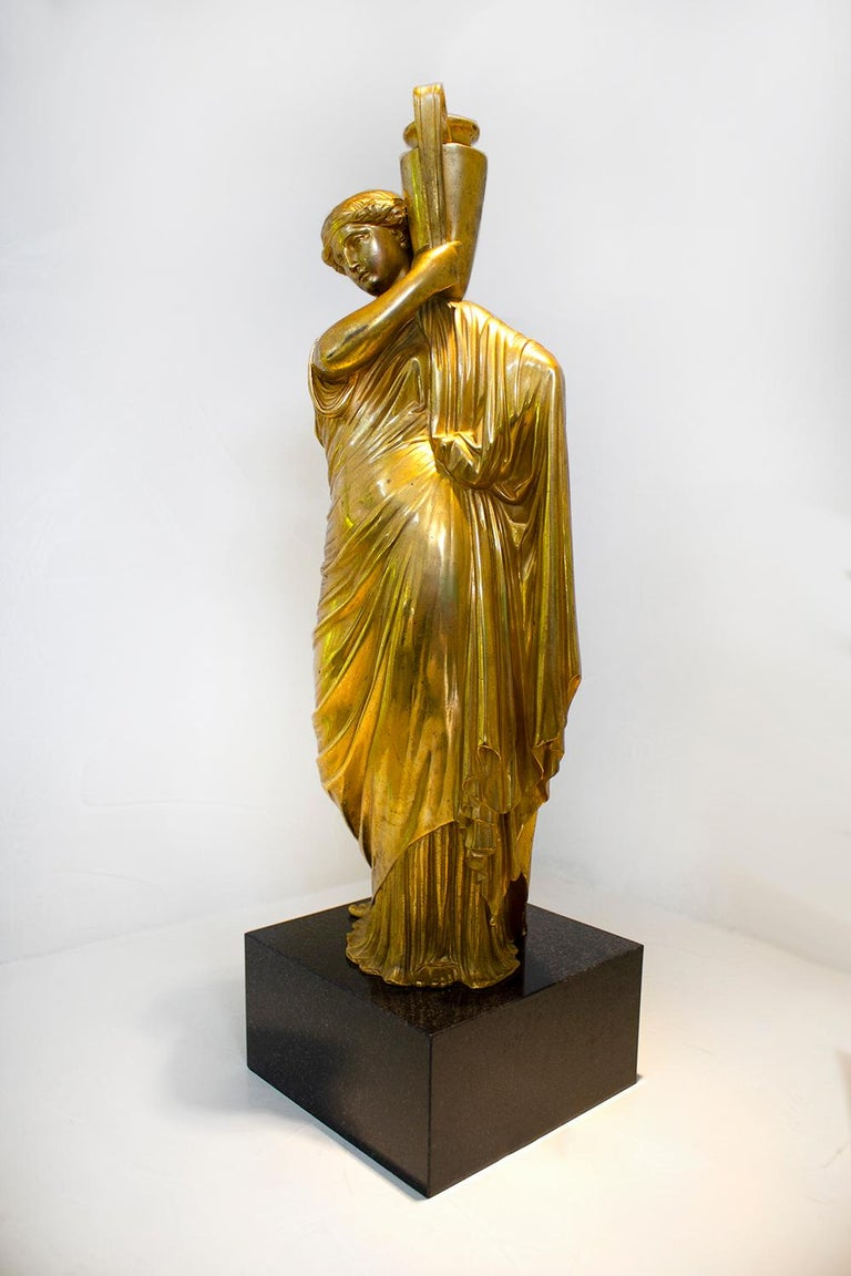 Neoclassical Romanesque Bronze Female Form Sculptures with Marble Bases For Sale 1