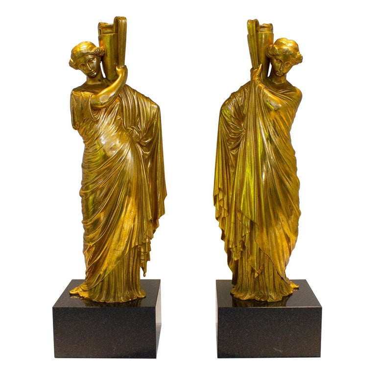 Neoclassical Romanesque Bronze Female Form Sculptures with Marble Bases For Sale