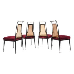 Neoclassical Ruby Red Velvet Dining Chairs Set of 4 by Arturo Pani Mexico, 1950s