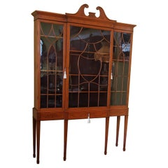 Neoclassical Satinwood Breakfront Bookcase