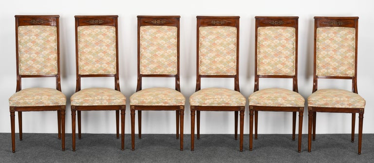American Neoclassical Set of Eight Mahogany Dining Chairs, 1960s For Sale